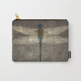 Dragonfly On Distressed Metallic Grey Background Carry-All Pouch