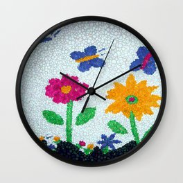 Butterflies and spring flowers bubble art Wall Clock