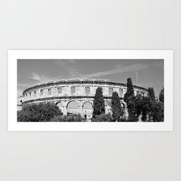 arena amphitheatre pula croatia ancient black white Art Print