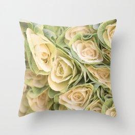 Greenyellow roses Throw Pillow
