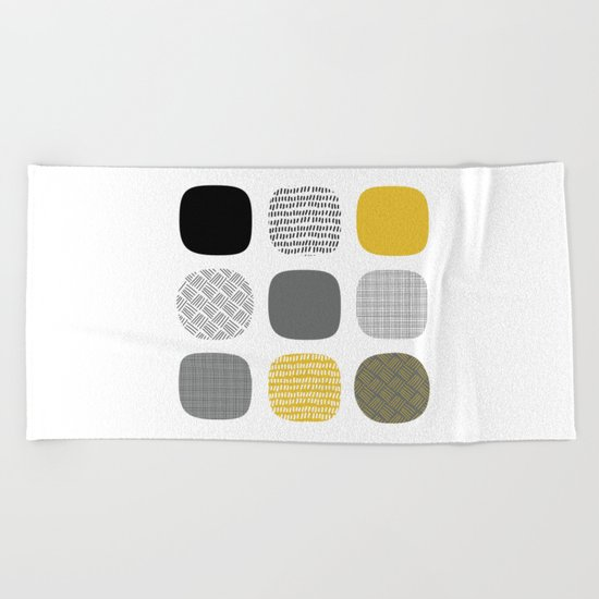 Abstract in mustard and grey Beach Towel