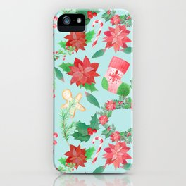 Merry Christmas Pattern (Blue Background) iPhone Case