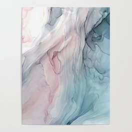 Calming Pastel Flow- Blush, grey and blue Poster