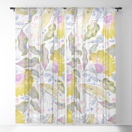 Lovelies - yellow & pink Flower pattern Sheer Curtain