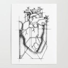 Picasso's Heart (a Cubist's dream) Poster