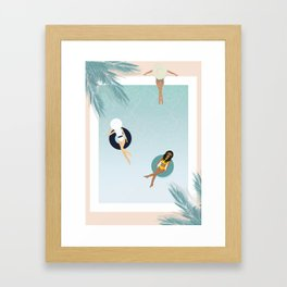 Summer Pool Day with friends Framed Art Print