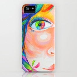 rainbow haired iPhone Case
