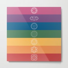 Seven Chakra Mandalas on a Striped Rainbow Color Background Metal Print