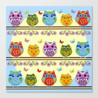 Canvas Prints featuring Chilling Summer owls by thea walstra