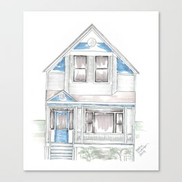 Blue Folk Victorian House Canvas Print