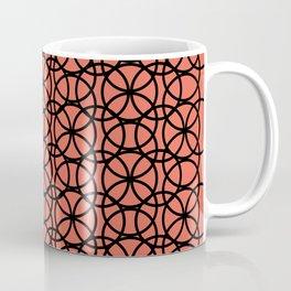 Circle Heaven Pantone Living Coral, Overlapping Black Ring Design Coffee Mug
