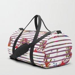 Modern pink orange tropical floral stripes pattern Duffle Bag