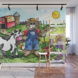 Farmer Fluffy at Harvest Time Wall Mural