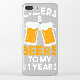Cheers and Beers To My 21 Years   21st Birthday Celebration T-Shirt Clear iPhone Case