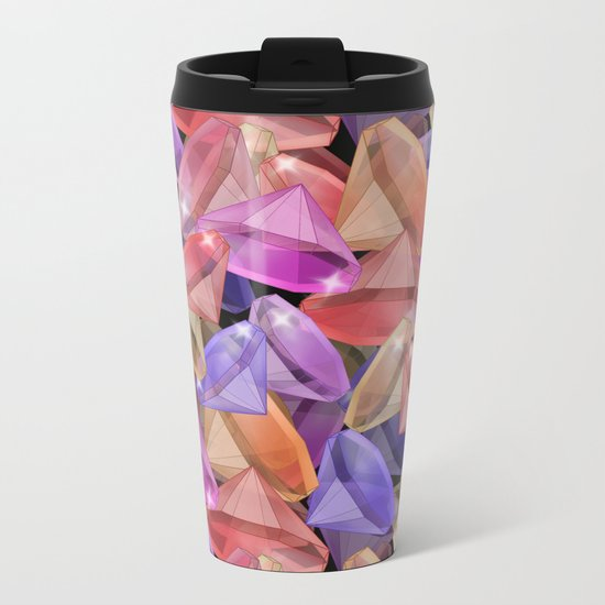 Placer precious stones gems . Metal Travel Mug
