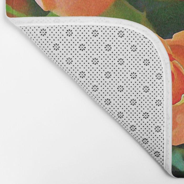 Painterly Bouquet Of Apricot Roses Bath Mat