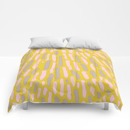 Organic Abstract Yellow Lime Comforters