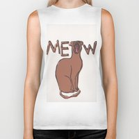 meow Biker Tanks featuring MEOW  by Cats. Comics. Curves.