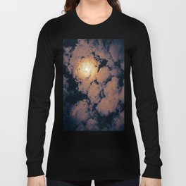 Full moon through purple clouds Long Sleeve T-shirt