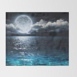 Full Moon over Ocean Throw Blanket