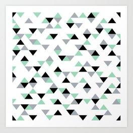 Triangles Mint Grey Art Print