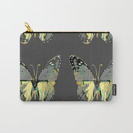 CHARCOAL GREY WESTERN STYLE BUTTERFLIES Carry-All Pouch