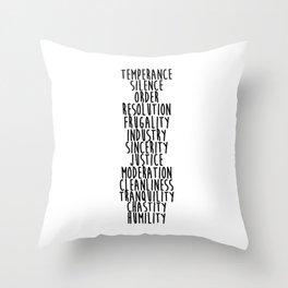 13 Virtues Throw Pillow