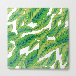 Banana Leaves - White Metal Print