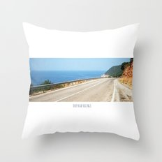 ROAD BLUE Throw Pillow