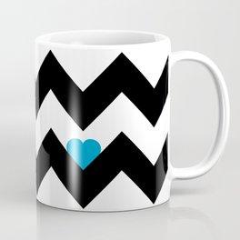 Heart & Chevron - Black/Blue Coffee Mug