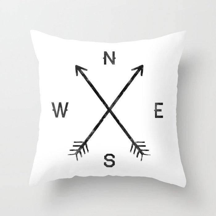 Compass (White) Throw Pillow