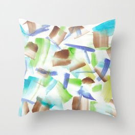 180719 Koh-I-Noor Watercolour Abstract 8| Watercolor Brush Strokes Throw Pillow