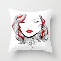 rihanna Throw Pillows featuring Rihanna  by Ina Spasova puzzle