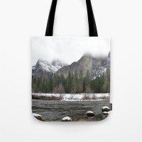 yosemite Tote Bags featuring Yosemite by Lydia Gifford