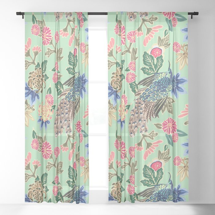 Peacock Floral in Mint Sheer Curtain