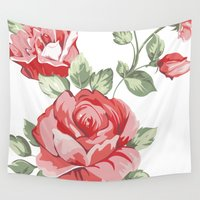 shabby chic Wall Tapestries featuring Roses Home Decor Shabby Chic by MY  HOME