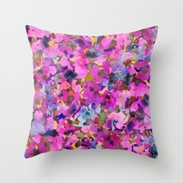 Pink Rainbow Garden Throw Pillow