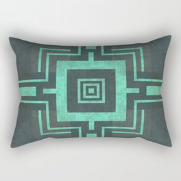 Old Mosaic Tiled Pattern - Tranquil Turquoise Teal On Black Rectangular Pillow