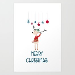 Christmas Reindeer in A Wool Hat and Ugly Sweater Art Print