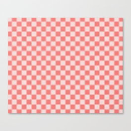 Coral Checkers Canvas Print