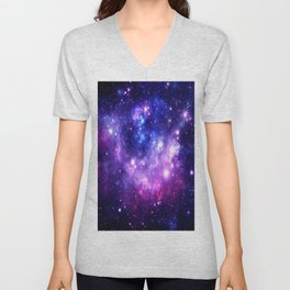 Purple Blue Galaxy Nebula Unisex V-Neck