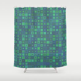 Green Abstract Square Pattern Big Shower Curtain