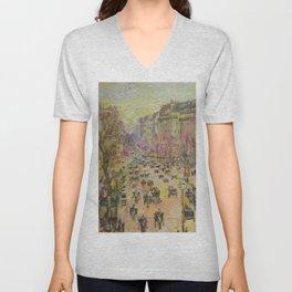 Paris, Boulevard Montmartre, a copy Unisex V-Neck