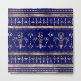 Fleur-de-lis ornament - Lapis Lazuli and Gold Metal Print