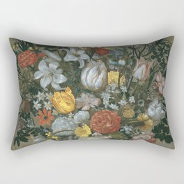 Ambrosius Bosschaert I - Chinese Vase With Flowers  Shells And Insects Rectangular Pillow