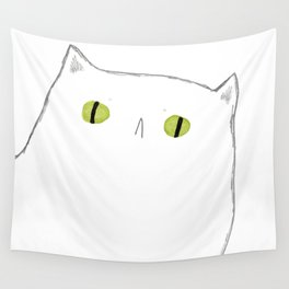 White Cat Face Wall Tapestry