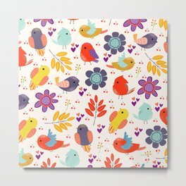 Colorful Cute Little Birds And Flowers Pattern  Metal Print
