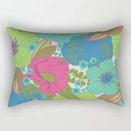 Green, Turquoise, Blue and Magenta Retro Floral Pattern Rectangular Pillow
