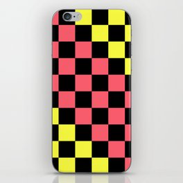 Black, Pink, & Yellow Checkerboard Pattern iPhone Skin