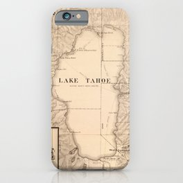 Vintage Map of Lake Tahoe Calfornia (1874) iPhone Case
